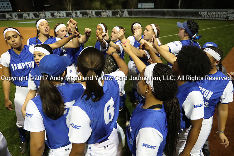 CHAPEL HILL, NC - FEBRUARY 24: Hampton players huddle before the game. The Hampton University Pirates played the Towson University Tigers on February, 24, 2017, at Anderson Softball Stadium in Chapel Hill, NC in a Division I College Softball match. Towson won 17-2 in a five inning run-rule game.