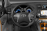 Steering wheel view of a 2009 Toyota Highlander Hybrid Limited