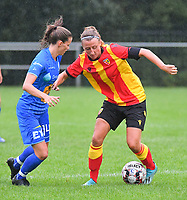 20200819, Sint-Amandsberg , GENT , BELGIUM : Gent's Shari Van Belle (L) and Lens's midfielder Marie Schepers (R)  pictured during a friendly soccer game between KAA Gent ladies and RC Lens ladies in the preparations for the coming season 2020 - 2021 of Belgian Women's SuperLeague and French second division , Wednesday 19 th of August 2020 in JAGO Sint-Amandsberg / Gent, Belgium . PHOTO SPORTPIX.BE | STIJN AUDOOREN