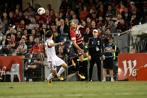 24th October 2017, Campbelltown Stadium, Campbelltown, Australia; Westfield FFA Cup Semi Final, Western Sydney Wanderers FC versus Adelaide United FC; Wanderers forward Brendon Santalab glances the ball past Adelaide captain Isaias;