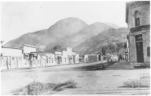 View of Silver Street at end of track in downtown Lake City.<br /> D&amp;RG  Lake City, CO  Taken by Hammond, Anning - ca. 1911