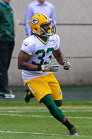Green Bay Packers running back Aaron Jones (33) during an Organized Team Activity on May 23, 2017 at Clarke Hinkle Field in Green Bay, Wisconsin.  (Brad Krause/Krause Sports Photography)