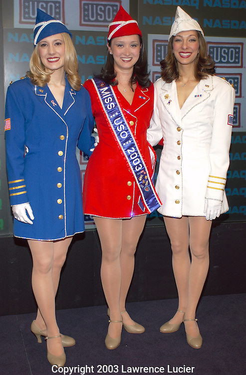 NEW YORK-MARCH 31: (L-R) USO Ambassadors of Goodwill Jamie Branthoover, Jennifer L. Rose, and Lauren Liebowitz of Metropolitan New York appear at the opening of NASDAQ March 31, 2003, in Times Square New York City.