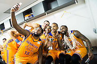 Herbalife Gran Canaria's player Royce O'Neale, Darko Planinic, Richard Hendrix, Eulis Baez and Bo McCalebb during the celebration of the victory at the final of Supercopa of Liga Endesa Madrid. September 24, Spain. 2016. (ALTERPHOTOS/BorjaB.Hojas) NORTEPHOTO.COM