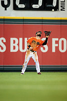 Richmond Flying Squirrels left fielder Matt Lipka (9) settles under a fly ball during a game against the Trenton Thunder on May 11, 2018 at The Diamond in Richmond, Virginia.  Richmond defeated Trenton 6-1.  (Mike Janes/Four Seam Images)