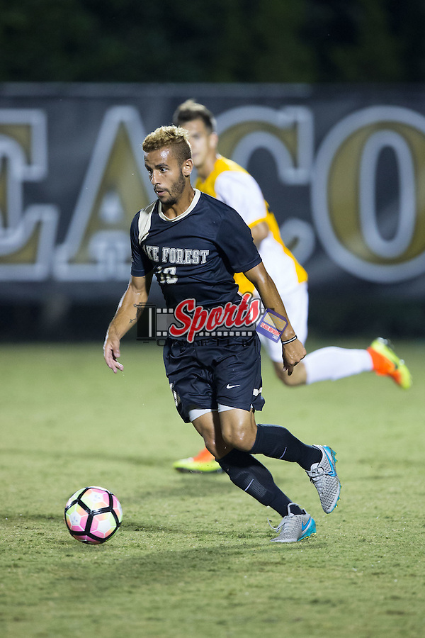 Bruno Lapa (10) of the Wake Forest Demon Deacons controls the ball during second half action against the Appalachian State Mountaineers at Spry Soccer Stadium on September 6, 2016 in Winston-Salem, North Carolina.  The Demon Deacons defeated the Mountaineers 3-0.   (Brian Westerholt/Sports On Film)