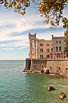 Castello di Miramare, built from 1856 to 1860 for Austrian Archduke Maximilian, with a view of the Gulf of Trieste