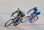 September 17, 2015 - Colorado Springs, Colorado, U.S. - Marian University's, Conor Kluper (l), and Fort Lewis College's, Ryan Standish (r), at full speed during a qualifying round during the USA Cycling Collegiate Track National Championships, United States Olympic Training Center Velodrome, Colorado Springs, Colorado.