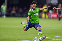 10th July 2020, Orlando, Florida, USA;  Seattle Sounders midfielder Cristian Roldan (7) kicks the ball during the soccer match between the Seattle Sounders and the San Jose Earthquakes on July 10, 2020, at ESPN Wide World of Sports Complex in Orlando, FL.
