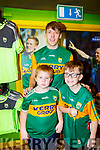Shea and Paddy O'Sullivan with David Clifford at the new Kerry shirt launch in the Kerry GAA shop on Friday