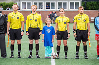 Boston, MA - Friday July 07, 2017: Match officials Jeffrey Skinner, Ian McKay, Referee Danielle Chesky and Trent Vanhaitsma during a regular season National Women's Soccer League (NWSL) match between the Boston Breakers and the Chicago Red Stars at Jordan Field.