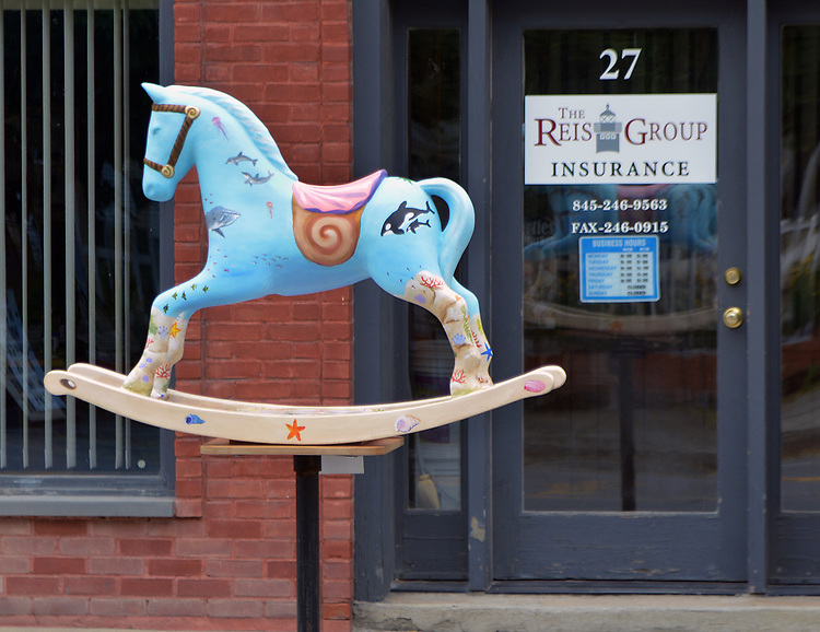 "A view of ""Seahorse"" created by artist, Heather I. Martin, one of the ""Rockin' Around Saugerties"" theme Statues on display throughout the Village of Saugerties, NY, on Sunday, June 4, 2017. Photo by Jim Peppler. Copyright/Jim Peppler-2017."