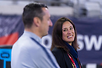 , FL - : Vlatko Andonovski and Kate Markgraf of the United States talk during a game between  at  on ,  in , Florida.