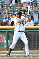 Ryan Wheeler (36) of the Salt Lake Bees at bat against the Round Rock Express in Pacific Coast League action at Smith's Ballpark on August 21, 2014 in Salt Lake City, Utah.  (Stephen Smith/Four Seam Images)