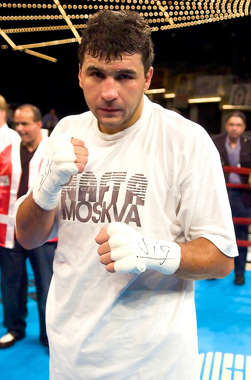 Timor Ibragimov after his 12 rounds Heavyweight fight  against  Ronald Lee Bellamy  at Madison Square Garden in NYC on 04.15.04. Ibragimov won by KO in the 3rd round