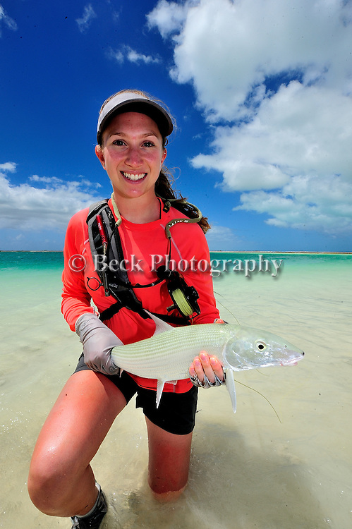 Leah Sodowick fly fishing for bonefish