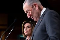 United States Senate Minority Leader Chuck Schumer (Democrat of New York) and Speaker of the United States House of Representatives Nancy Pelosi (Democrat of California) speak during a news conference regarding the upcoming 2021 Presidential budget at the United States Capitol in Washington D.C., U.S. on Tuesday, February 11, 2020.  <br /> <br /> Credit: Stefani Reynolds / CNP/AdMedia