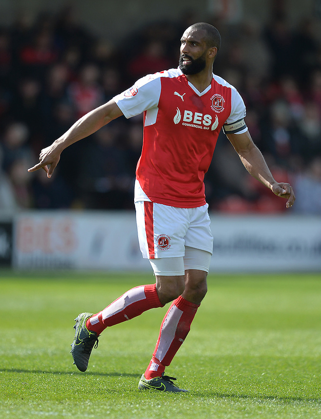 Fleetwood Town's Nathan Pond in his record equalising game for FTFC<br /> <br /> Photographer Dave Howarth/CameraSport<br /> <br /> Football - The Football League Sky Bet League One - Fleetwood Town v Blackpool - Saturday 23rd April 2016 - Highbury Stadium - Fleetwood  <br /> <br /> &copy; CameraSport - 43 Linden Ave. Countesthorpe. Leicester. England. LE8 5PG - Tel: +44 (0) 116 277 4147 - admin@camerasport.com - www.camerasport.com
