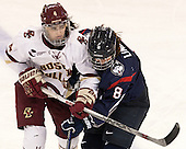 Megan Keller (BC - 4), Rebecca Lindblad (UConn - 8) - The Boston College Eagles defeated the visiting UConn Huskies 4-0 on Friday, October 30, 2015, at Kelley Rink in Conte Forum in Chestnut Hill, Massachusetts.