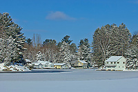 Cottages on Mary Lake in winter<br />