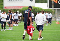 Wednesday August 10, 2016: New England Patriots quarterback Tom Brady (12) walks with offensive coordinator and quarterbacks coach Josh McDaniels at a joint training camp practice between New England Patriots and  the New Orleans Saints  training camp held Gillette Stadium in Foxborough Massachusetts. Eric Canha/CSM