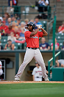 Pawtucket Red Sox Josh Ockimey (30) bats during an International League game against the Rochester Red Wings on June 28, 2019 at Frontier Field in Rochester, New York.  Pawtucket defeated Rochester 8-5.  (Mike Janes/Four Seam Images)