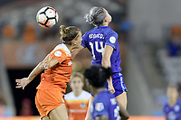 Houston, TX - Saturday June 17, 2017: Alanna Kennedy heads the ball over Amber Brooks during a regular season National Women's Soccer League (NWSL) match between the Houston Dash and the Orlando Pride at BBVA Compass Stadium.