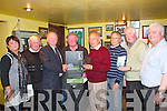 Presentation as part of Gary McMahon Singing Festival on Saturday at 5.30pm in the Ramble Inn Bar, Abbeyfeale.  Pictured L-R were : Chris O'Shea, Mike Barrett, Tom McKenna, Pat O'Sullivan, Paddy Byrne, Con Warren, Paddy Joe Fitzgerald and Phillip Enright.