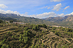 Mountain landscape scenery Benimantell and Beniarda villages, valley of Gaudalest, Alicante province, Spain