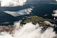 Lake Mapourika near Franz Josef Glacier Village under clouds, Westland National Park, West Coast, New Zealand