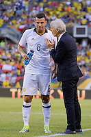 Chicago, IL - Wednesday June 22, 2016: Edwin Cardona, Jose Pekerman during a Copa America Centenario semifinal match between Colombia (COL) and Chile (CHI) at Soldier Field.