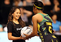 21.02.2018 Action during the Jamaica v Fiji Taini Jamison Trophy netball match at the North Shore Events Centre in Auckland. Mandatory Photo Credit ©Michael Bradley.