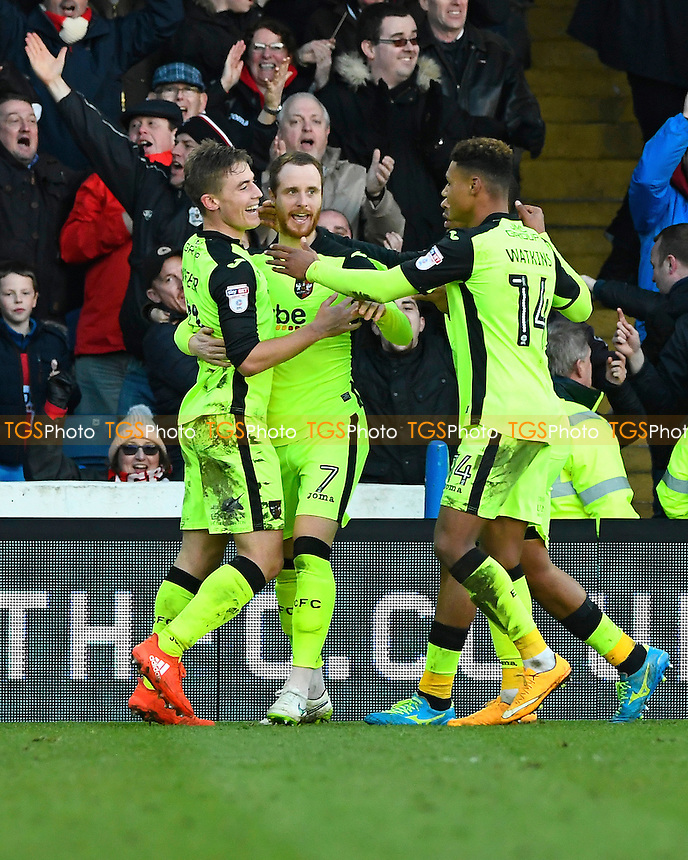 David Wheeler of Exeter City left celebrates his goal with team mates during Portsmouth vs Exeter City, Sky Bet EFL League 2 Football at Fratton Park on 28th January 2017