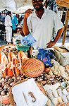 seahorses and shells on  sale in Dar e Salaam market , Tanzania.