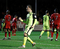 Exeter City's Lloyd James celebrates the opener scored by Ollie Watkins during the Sky Bet League 2 match between Crawley Town and Exeter City at Broadfield Stadium, Crawley, England on 28 February 2017. Photo by Carlton Myrie / PRiME Media Images.