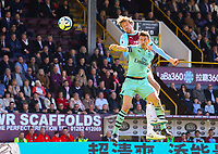 Burnley's Peter Crouch battles with Arsenal's Laurent Koscielny<br /> <br /> Photographer Alex Dodd/CameraSport<br /> <br /> The Premier League - Burnley v Arsenal - Sunday 12th May 2019 - Turf Moor - Burnley<br /> <br /> World Copyright &copy; 2019 CameraSport. All rights reserved. 43 Linden Ave. Countesthorpe. Leicester. England. LE8 5PG - Tel: +44 (0) 116 277 4147 - admin@camerasport.com - www.camerasport.com