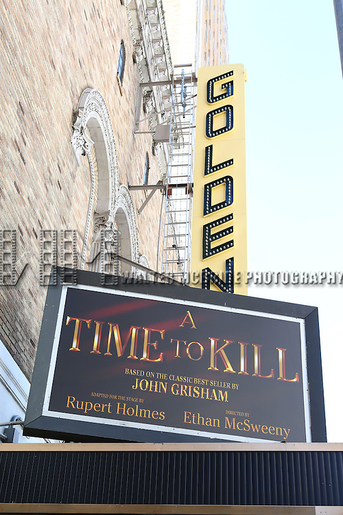 Theatre Marquee for'A Time to Kill'  Written by John Grisham and adapted for stage by Rupert Holmes at the  Golden Theatre on September 29, 2013 in New York City.