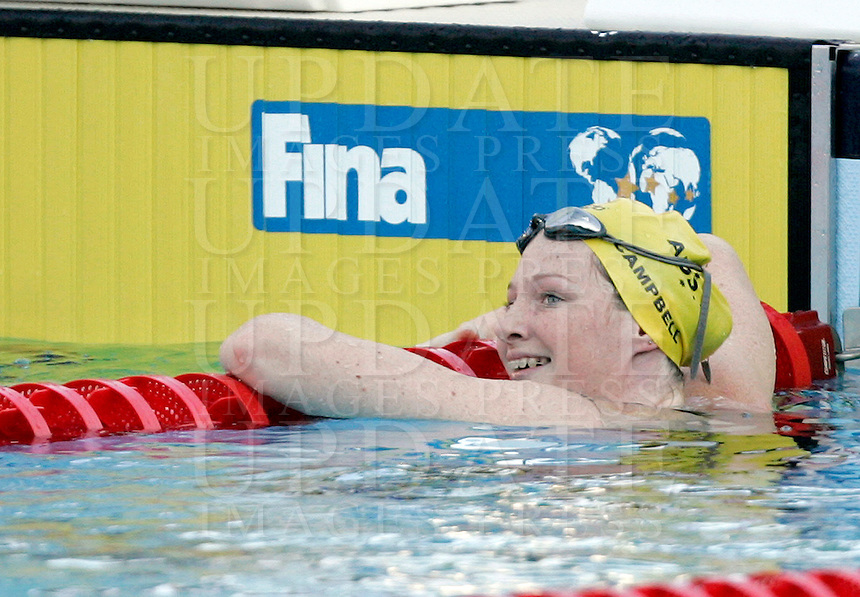 Australia's Cate Campbell reacts after winning in a Women's 50m Freestyle semifinal at the Swimming World Championships in Rome, 1 August 2009..UPDATE IMAGES PRESS/Riccardo De Luca