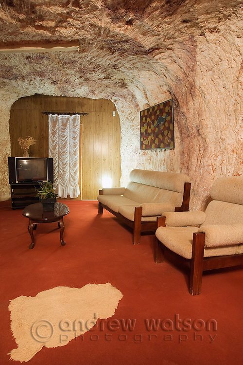 Underground home in the Umoona Opal Mine and Museum.  Coober Pedy, South Australia, AUSTRALIA.