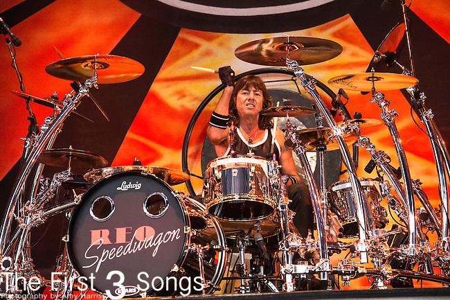 Bryan Hitt of REO Speedwagon performs at Riverbend Music Center in Cincinnati, Ohio.