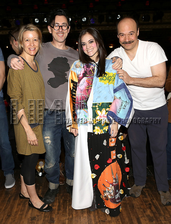 Linda Emond, Alan Cumming, Andrea Goss and Danny Burstein during the Broadway Opening Night Gypsy Robe Ceremony honoring Andrea Goss for 'Cabaret' at Studio 54 on April 24, 2014 in New York City.