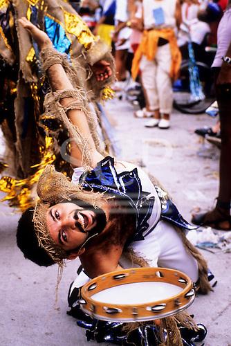 Rio de Janeiro, Brazil. Carnival, bearded musician with tambourine.