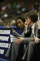 18 March 2006: Assistant coach Charmin Smith during Stanford's 72-45 win over Southeast Missouri State in the first round of the NCAA Women's Basketball championships at the Pepsi Center in Denver, CO.