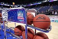 GREENSBORO, NC - MARCH 04: Atlantic Coast Conference Basketballs during a game between Pitt and Notre Dame at Greensboro Coliseum on March 04, 2020 in Greensboro, North Carolina.
