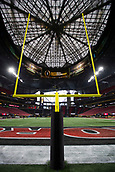 January 8th 2018, Atlanta, GA, USA; A general view of the goal post and prior to the College Football Playoff National Championship Game between the Alabama Crimson Tide and the Georgia Bulldogs on January 8, 2018 at Mercedes-Benz Stadium in Atlanta, GA.