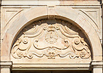 Decorated marble architectural feature Latin inscription I Will Teach, Palace Paco de Sao Miguel, Evora, Alto Alentejo, Portugal