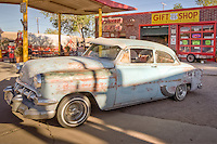 • Return to the 50's,  on Historic Route 66 in Seligman Arizona. This store is housed in an old gas station and sports lots of antiques. A unique store with a good selection of Route 66 stuff including apparel, hats, patches, car stuff, license plates, signs, jackets and more