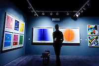 New York City, NY. 06 November 2014. A man attends  the IFPDA Print Fair, at the Park Avenue Armory in new york