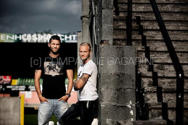 Belgian football player Hamdi Harbaoui and Jordan Remacle (Belgium, 27/08/2013)