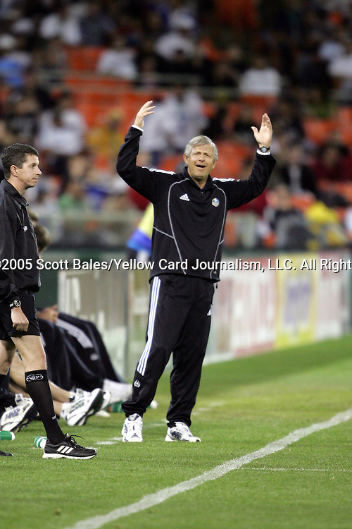 21 May 2005: Kansas City Head Coach Bob Gansler reacts to a referee's call. DC United defeated the Kansas City Wizards 3-2 at RFK Stadium in Washington, DC in a regular season Major League Soccer game. .